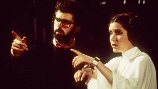 Star Wars (1977) Directed by George Lucas Shown from left: Director George Lucas, Carrie Fisher (as Princess Leia Organa)