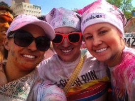Friends at the Color Run in Tulsa (from L to R) Brittney, me, and Ashley.