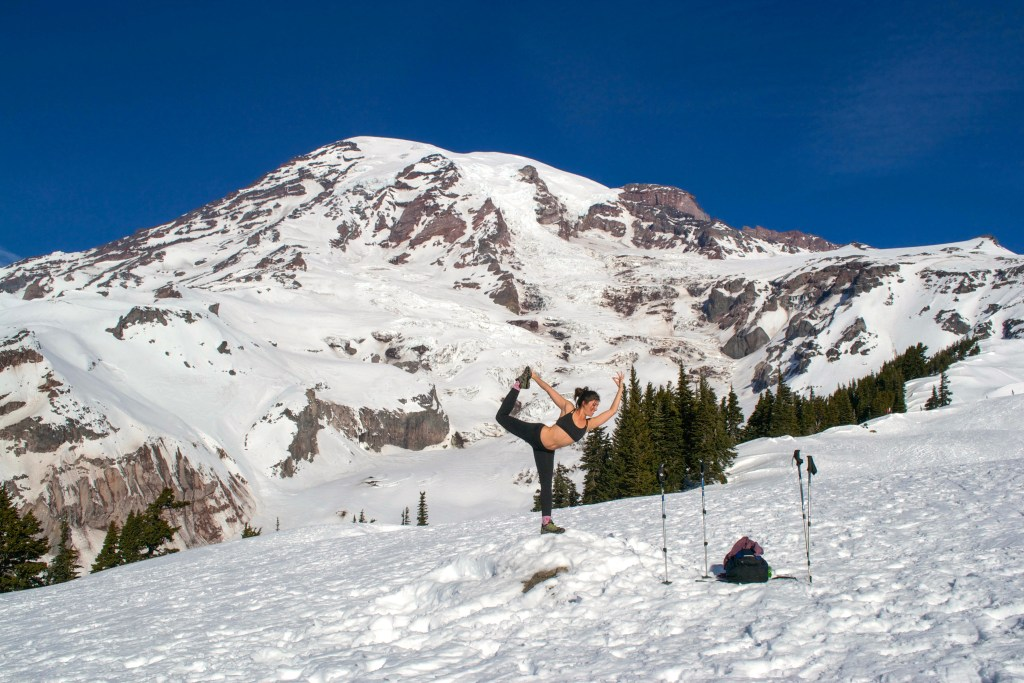 Yoga in the snow on Mt. Rainier, Washington