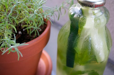 Cucumber-lavender-mint-infused water.