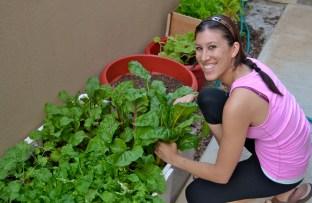 I am happy in my yoga pants tending to my garden. :-)
