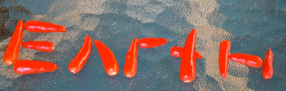 Spelling words with hot peppers.