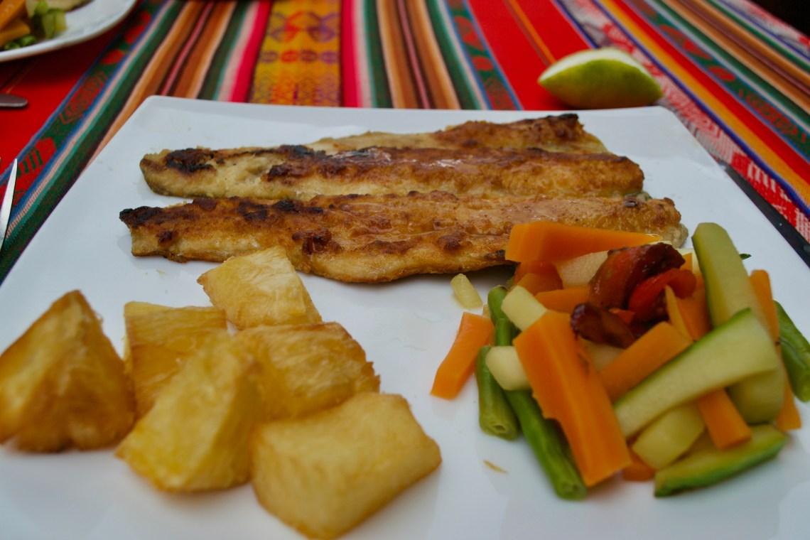 Typical Food in the Region of Cuenca Ecuador - Trout & Yuca
