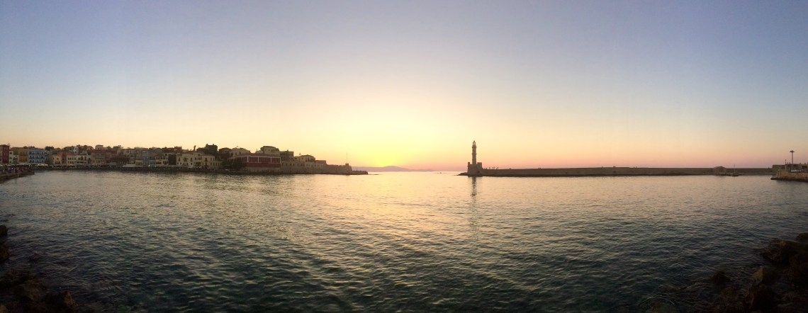 Chania Venetian Harbor Sunset, Crete, Greece