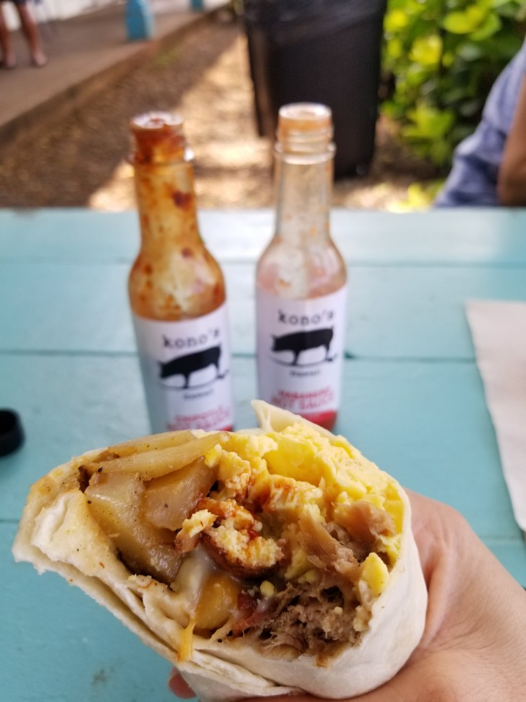 Kono's North Shore burrito, Haleiwa, Oahu Hawaii