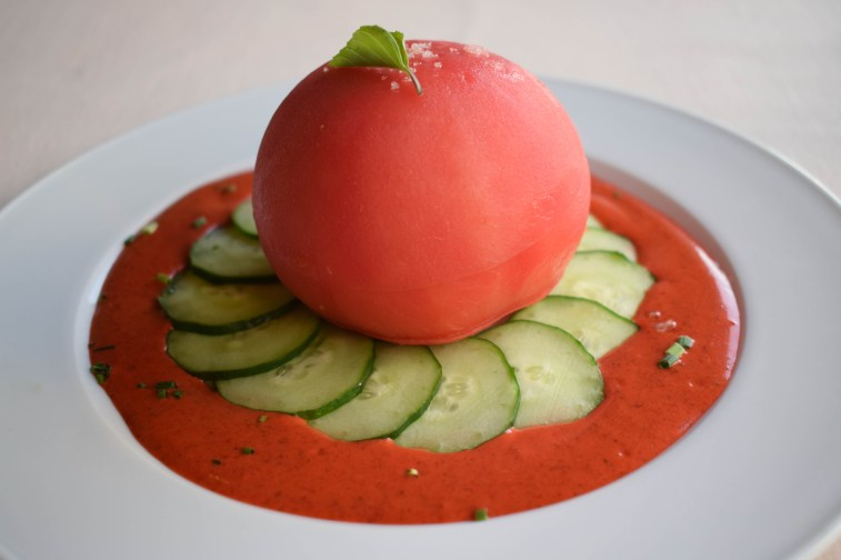 Pupu (appetizer): tomato with cucumber and lilikoi sauce