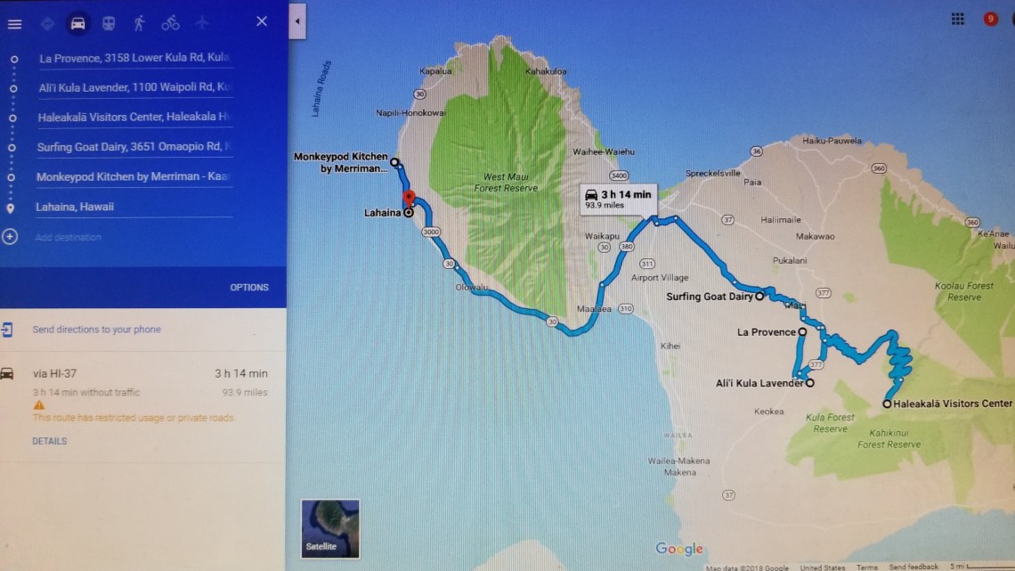Maui Haleakala Lahaina Driving Map Itinerary