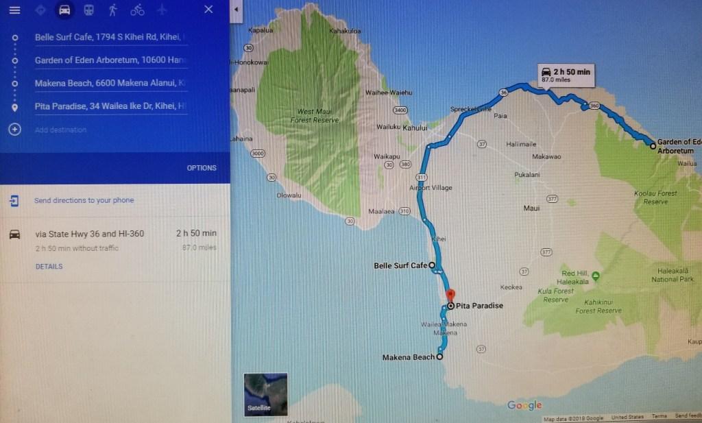 Maui Kihei Road to Hana Driving Map Itinerary