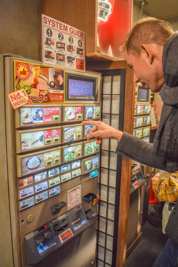 Selecting ramen in Japan