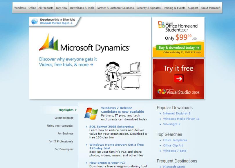 Microsoft's Site, 2009