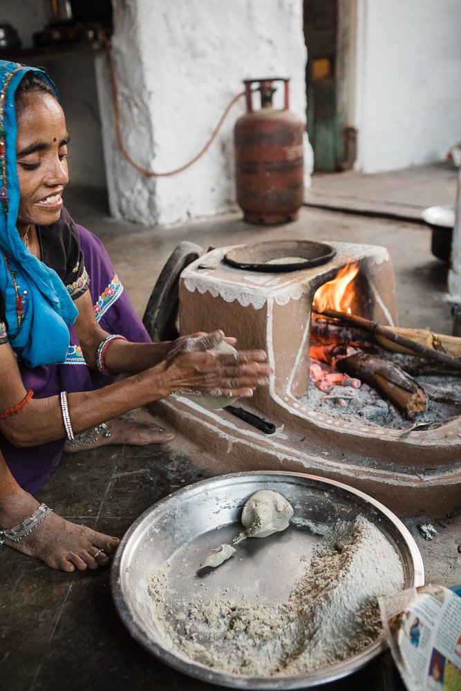 CulturallyOurs creative travel retreat to India cooking on a wood stove in a village