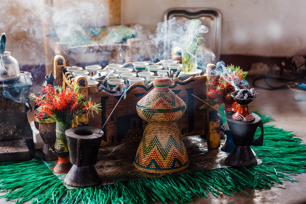 cup of Ethiopian coffee with aromatic frankincense by CulturallyOurs