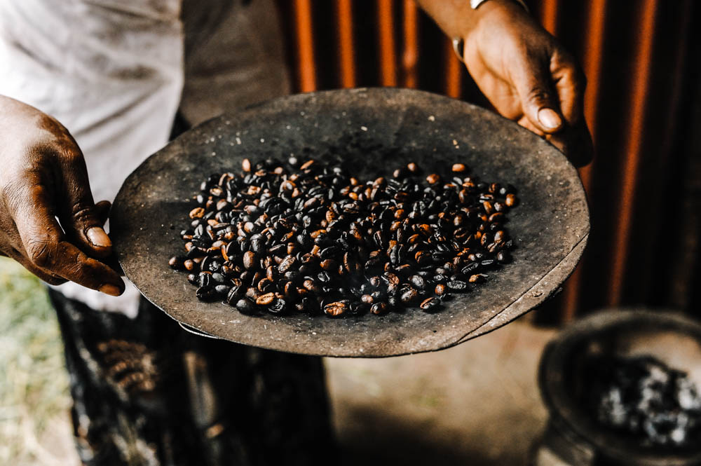 Traditional Ethiopian coffee beans roasting, Roasted coffee bean by CulturallyOurs