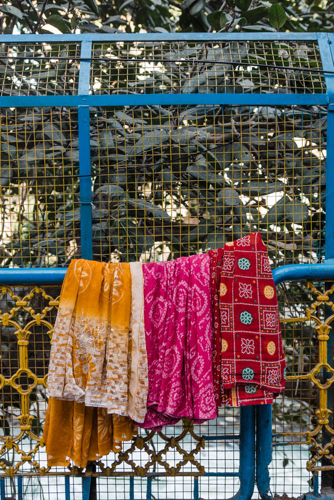 Colorful saris drying outside in Rishikesh India