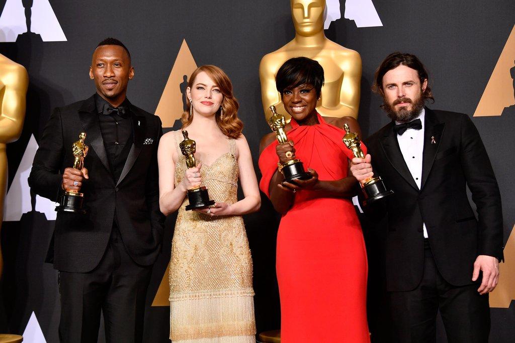 Melhores atores e melhores atores coadjuvantes vencedores do Oscar 2017. Foto: AFP/Getty Images