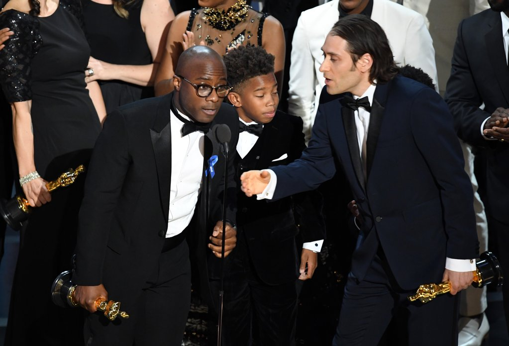 E depois de muita confusão, Moonlight leva o prêmio de Melhor Filme do ano. Foto: AFP/Getty Images