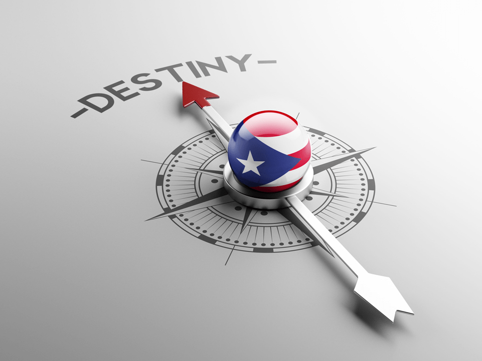 Puerto Rico compass arrow pointing toward the word Destiny.