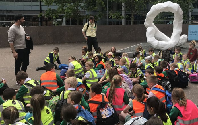 Tate Modern London Senior Curator Mark Godfrey with Ramsgate Arts youth leadership children pioneering places franz west