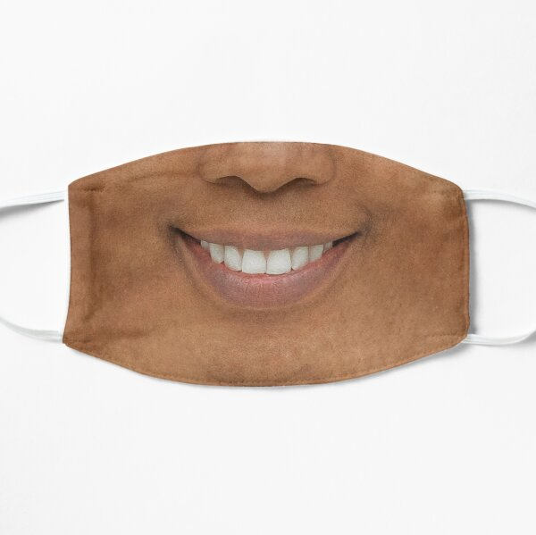 African American Woman smiling quarantine mask. Covid-19 black woman smile mask.