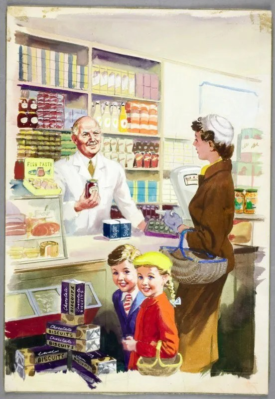 Shopping with Mother © Ladybird Books Ltd, 1958 Reproduced by permission of Ladybird Books Ltd.