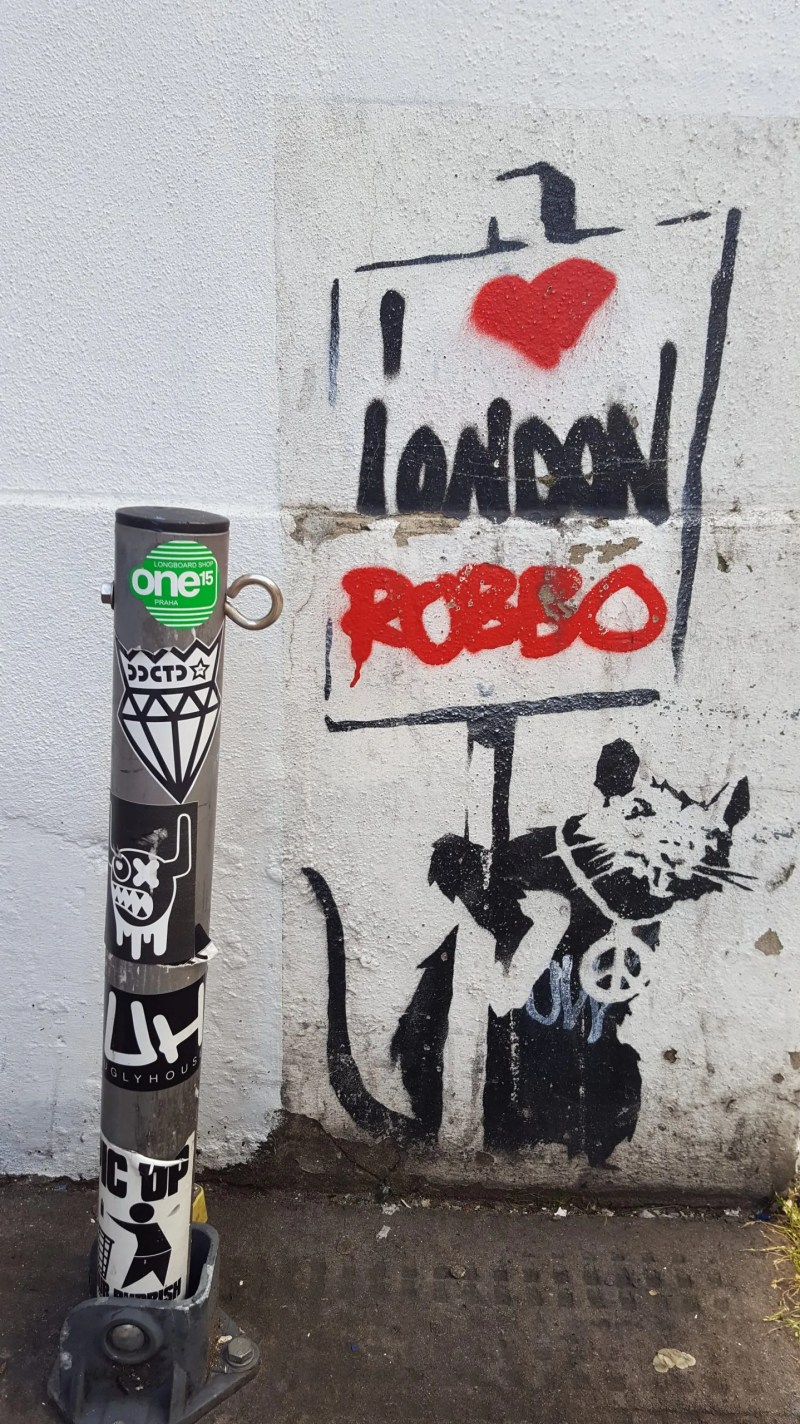 Banksy on Chiswell Street London Banksy Rat with Robbo tag