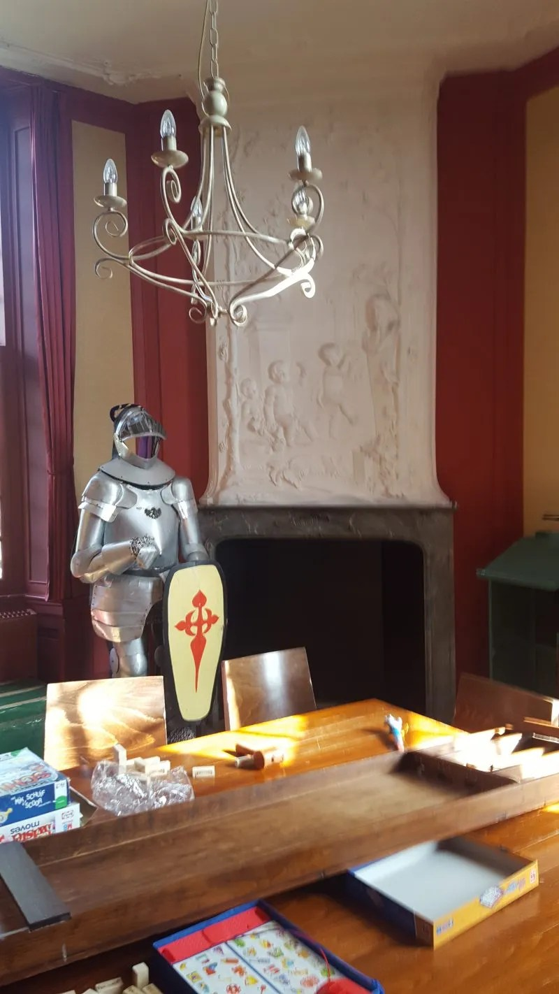 Suit of Armour, board games. Games room in a Dutch Castle Hotel