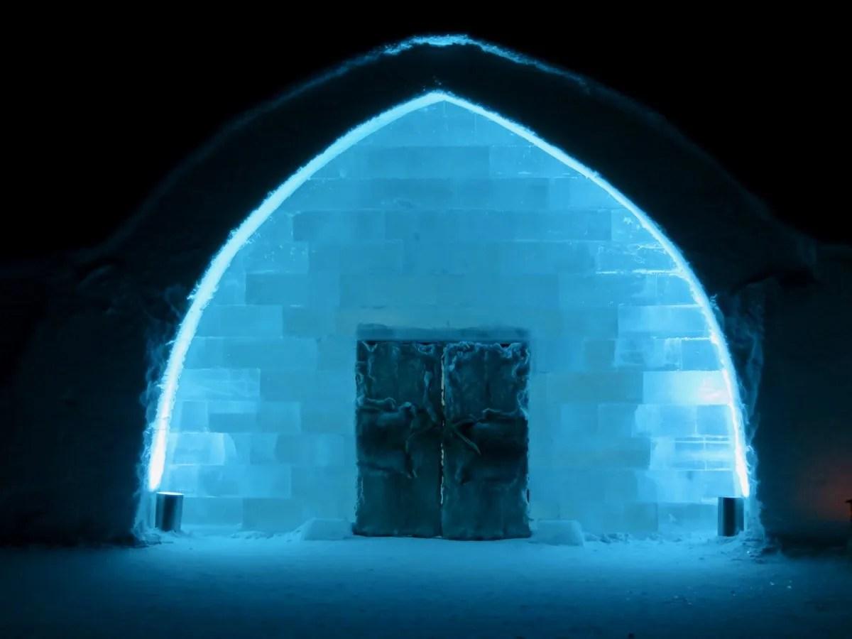 IceHotel Sweden door at night