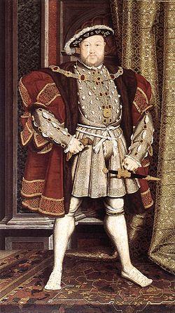 Kong Henrik VIII av England, malt av Hans Holbein den yngre ca. 1537, i tidsriktig barett, flat lue, med fjærpryd og edelsteiner. Bred form går igjen i denne tidens herremote, som ellers ofte bestod av vams, shaube (kappeliknende jakke) med skulderputer, skamkapsel, pludderbukser (her skjult under skjøtene fra vamsen), strømper og oksemulesko.