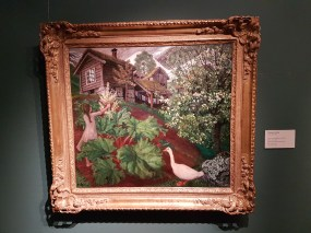 Nikolai Astrup (1880-1928), Natlys, rabarbra, gaas og hegg, ca. 1927. Foto fra utstillingen: Siri Wolland