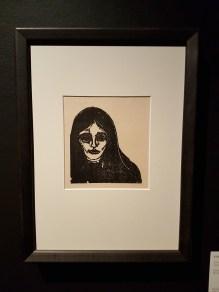 Edvard Munch, Rouge & noir, 1896. Tresnitt. Foto fra utstillingen: Siri Wolland.