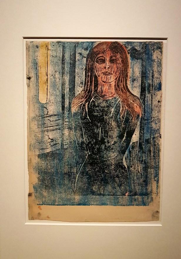 Edvard Munch, Sommernatt, Stemmen, 1896. Fargetresnitt. Foto fra utstillingen: Siri Wolland.