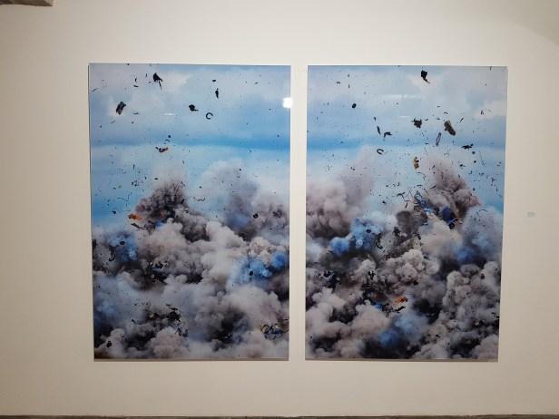 Daniel & Geo Fuchs, Explosion I - Diptychon, 2013. Foto fra utstillingen: Siri Wolland.