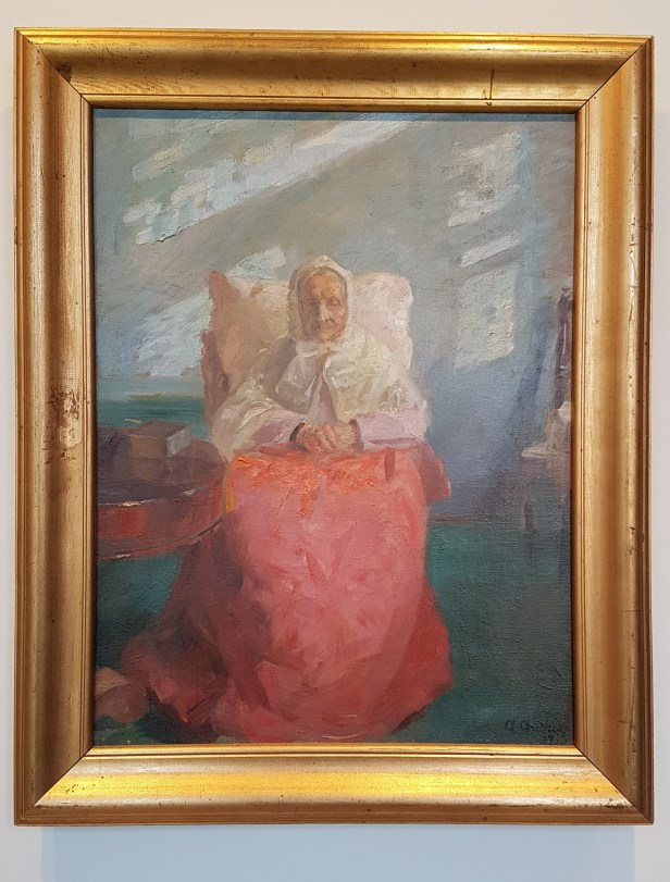Anna Ancher, Fru Ane Brøndum i den blå stue, 1913. Foto fra utstillingen; Siri Wolland.