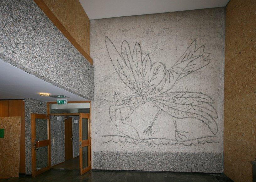 Måken, Pablo Picasso. Utført av Carl Nesjar. Foto tatt kort tid etter 22/7/11 av Siri Wolland.