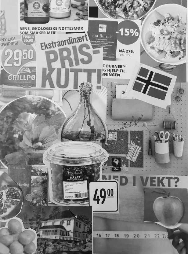 Reklamefinansiering i kunst og kultursektoren er et vanskelig tema. Fotocollage, Siri Wolland.