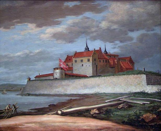 Akerhus sett fra Hovedtangen. Malt av Jacob Coning. 1699. Nasjonalgalleriet.