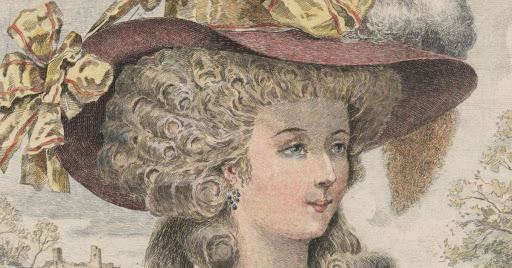 imagen de estampa representando a Rose Bertin con cabello rizado y sombrero