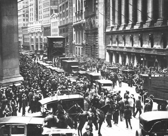 le krach de la bourse de Wall street de 1929