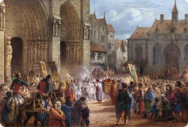 saint-louis-portant-la-sainte-couronne-à-notre-dame-de-paris-le-19-août-1239-gravure-par-jules-david-1860-colorisation-par-jérôme-dumoux-2012-ndp