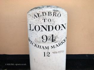 Aldbro to London road sign, Aldeburgh, Suffolk