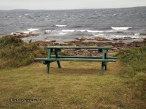 Bench by the sea at Balfour Castle
