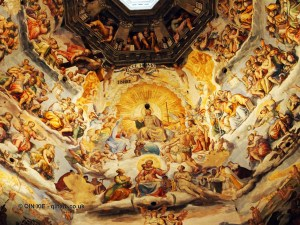 Close up of frescoes in Duomo, Florence, Italy