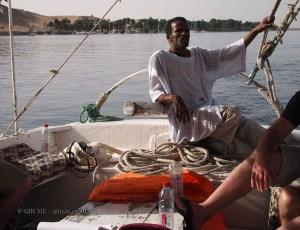 Man steering, Felucca ride on the Nile