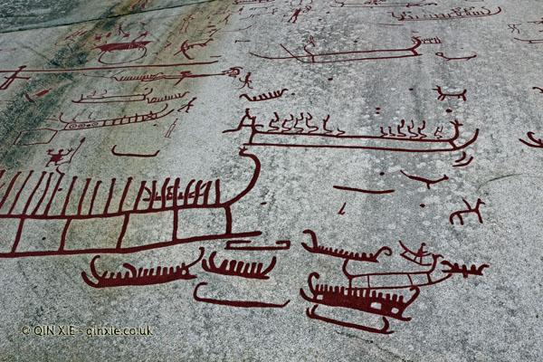 Rock carvings close up at Vitlyke in Bohuslan, West Sweden