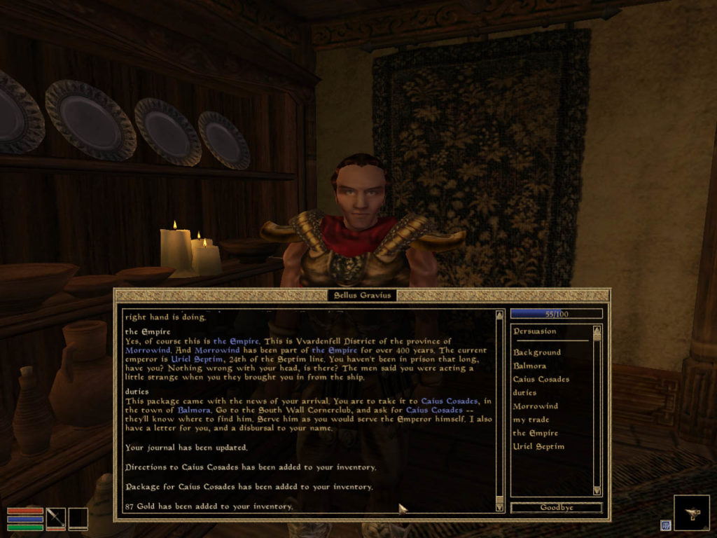 A dialogue text menu that appears on speaking with an NPC.
