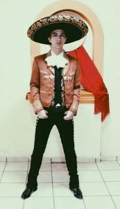 "Alvarez wearing the traditional ""traje de charro"""