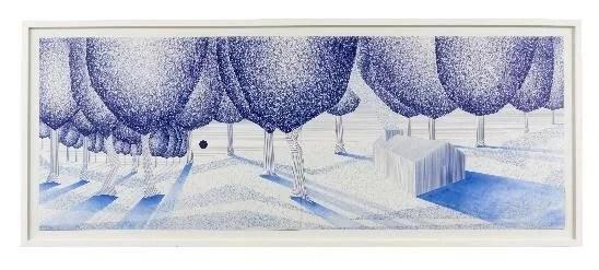 LAIB BITTON Charles, Malcomportement dans la Prairie, 2012 - 152 x 55,5 cm ; stylo bille sur papier. ©Charly Gosp. Courtesy: l'artiste et Collection BIC