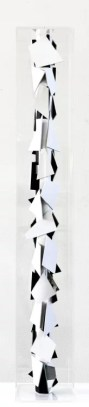 CHRISTIAN MEGERT / S.T., 2018, sculpture (black and white), wood, mirror, acrylic, under plexi, 120 x 17 x 17 cm