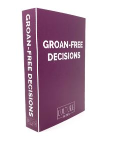 A purple box with Groan-Free Decisions written across it