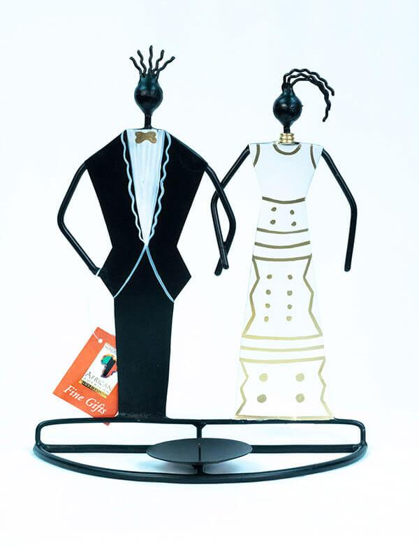 wedding couple wired art candleholder, front